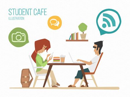 urban youth: Student youth street urban cafe illustration Illustration