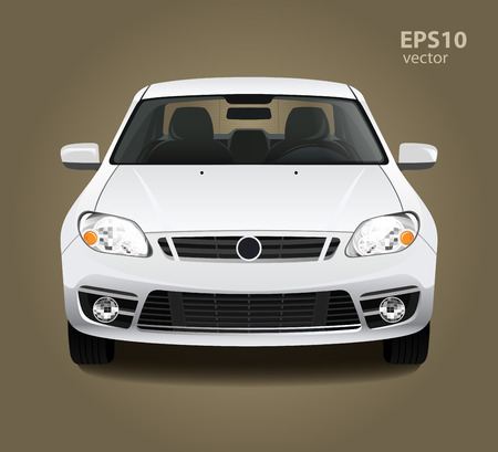 front view: New modern clean shine white car. Front side view. Vector realistic hd 3d color illustration. Photo studio light. Illustration