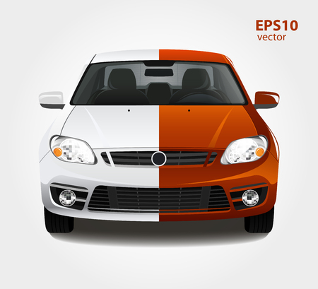 before: Car paint 3d color vector illustration. Before and after creative concept.