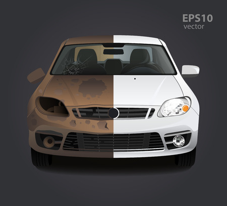 dirty car: Car repair before and after concept. Color 3d vector creative illustration. Advertising idea.