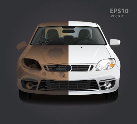 Riparazione auto prima e dopo il concetto. Illustrazione creativa di vettore di colore 3d. Idea pubblicitaria. Vettoriali