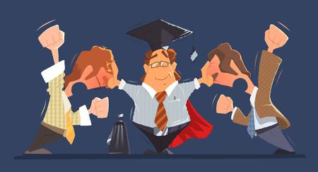 Man Anwalt zwischen zwei schreien und kämpfen Streit Konflikt Menschen business oder Chef und Mitarbeiter. Farbe Vektor-Zeichen-Illustration.