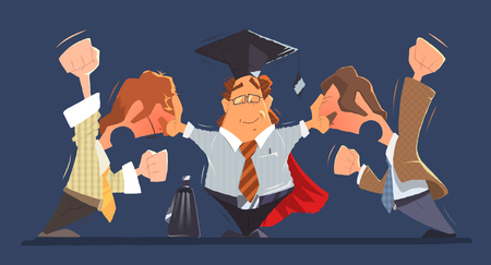 Man lawyer between two shouting and fighting dispute conflict people businessmans or boss and employee. Color vector character illustration.