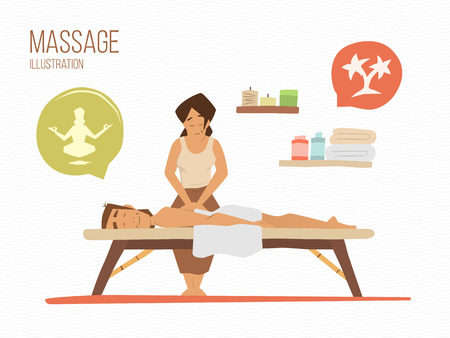 massage: Mann auf einen Urlaub. Spa-Massage Wellness-Salon-Illustration.