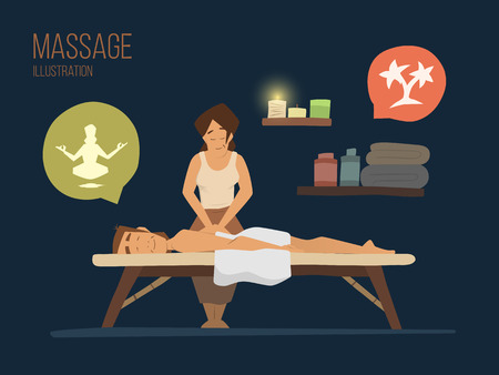 Man spa massage wellness salon illustration Vettoriali