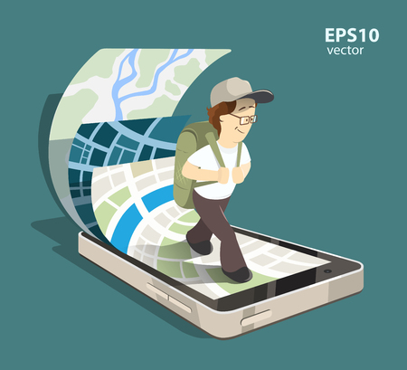 using smartphone: Young man tourist using mobile navigation system on his smartphone. Isolated color creative concept illustration. Illustration