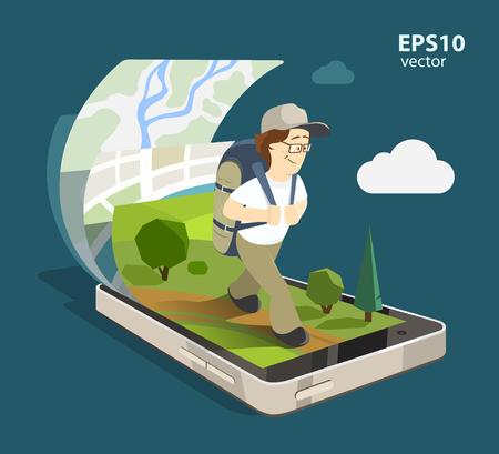 MOCHILA: sonrisa joven turista hombre feliz utilizando el sistema de navegación móvil en su teléfono inteligente. Aislado de color 3d ilustración concepto creativo. Vectores