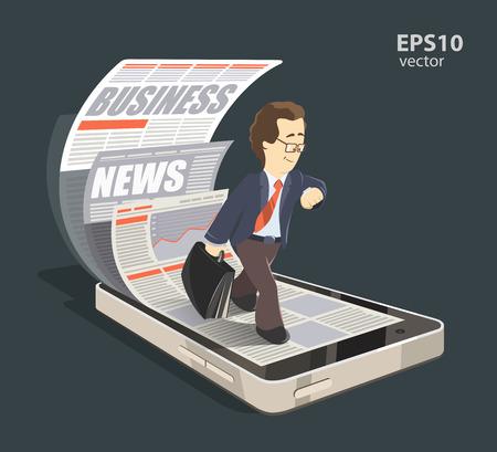 Mobile News biznesu internetowego koncepcji kreatywnej kolor ilustracji 3d. Młode uśmiech biznesmen odczytywania nowej prasy za pomocą swojego telefonu komórkowego, smartfonu. Ilustracje wektorowe