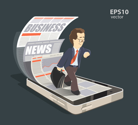 Mobile internet business news creative concept color 3d illustration. Young smile successful businessman reading new press using his mobile phone, smartphone.