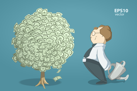 success business: Happy smile successful man entrepreneur looking on money tree. Creative vector 3d color illustration.