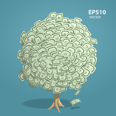 creative money: Money tree. Creative vector 3d color illustration