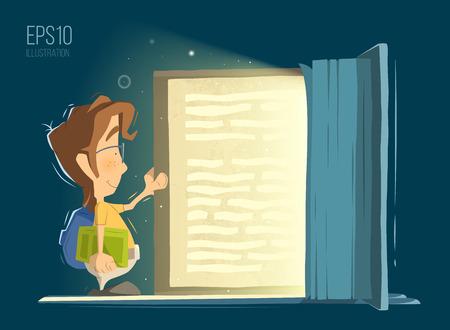 Feliz niño de sonrisa para niños niño abierto y lee el libro grande vieja magia. ilustración vectorial de color brillante. Vectores