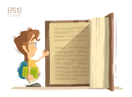 Happy smile school child kid boy schoolboy pupil open and reading big old book. Bright color vector illustration.