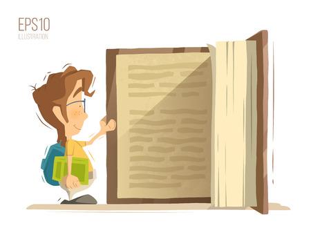 Gelukkige glimlach schoolkind kid jongen schooljongen pupil open en het lezen van grote oude boek. Heldere kleuren vector illustratie.