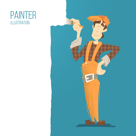 craftsmen repair: Young happy smiling man painter painting a wall using paintbrush. Flat web color illustration. Illustration
