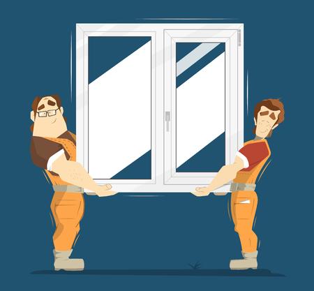 obrero caricatura: pl�stico Upvc ilustraci�n color de la ventana. Dos hombre con ventana de pl�stico.