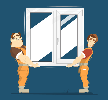Upvc plastic window color illustration. Two man holding plastic window. Stock Illustratie