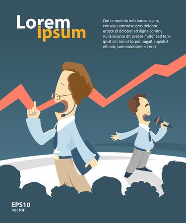 conference hall: Businessmen giving a presentation. Creative vector illustration. Booklet cover template design. Teamwork concept.