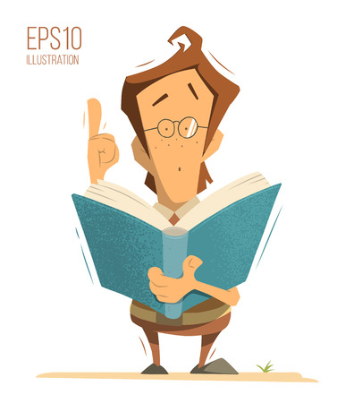 Smart clever genius kid child boy schoolboy schoolchild pupil holding and reading a book. Color vector isolated illustration.
