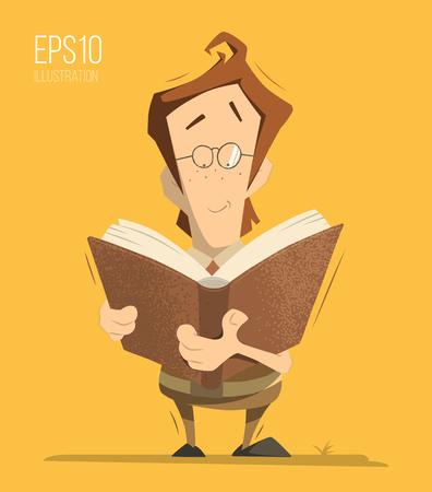kid vector: Inteligente inteligente chico tan inteligente muchacho niño colegial pupila celebración de la lectura de un libro. Vectores de color aislados ilustración. Vectores