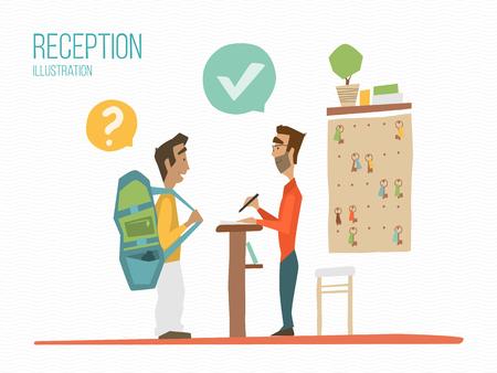 dos personas platicando: ilustración de color de recepción. Recepcionista y hablar de invitados.