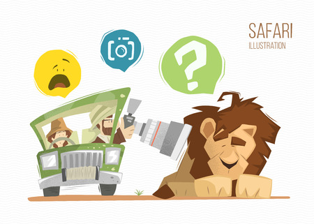 brave: Safari illustration. Man and woman happy family on safari. Brave photographer making a photo of wild sleeping lion.