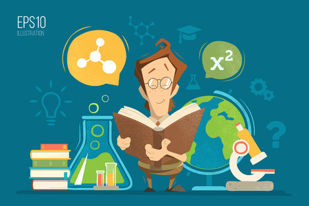 physics: School education colorful vector illustration concept. Young schoolboy boy child kid pupil holding and reading a book or textbook and learning geography, chemistry, physics and mathematics maths lessons.