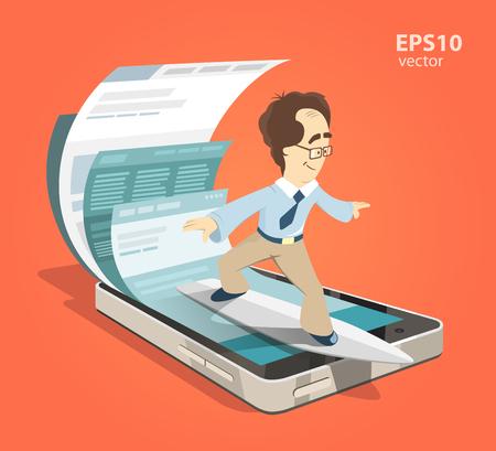 Schnelle Geschwindigkeit mobile Internet-Surfen. Man Geschäftsmann auf Surfbrett. Suchen Sie Informationen unter Verwendung Smartphone. Farbe Vektor-Illustration kreative Konzept.
