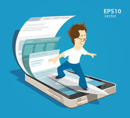 happy young student man surfing search browsing mobile internet using his smartphone Illustration