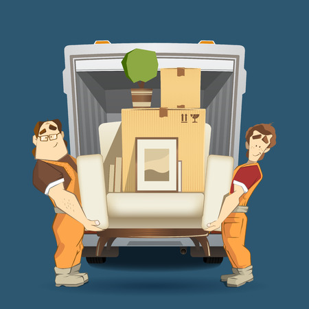 cardboards: Two loaders movers man holding and carrying armchair with cardboard box, flower, pictures and books. Moving services 3d creative concept and conceptual color vector illustration.