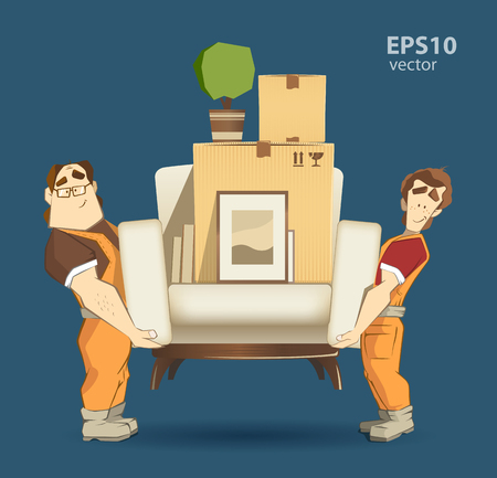 'young things': Moving service and delivery company illustration. Two loader mover man holding and carrying sofa with big carton cardboard box. 3d color vector creative concept with characters.