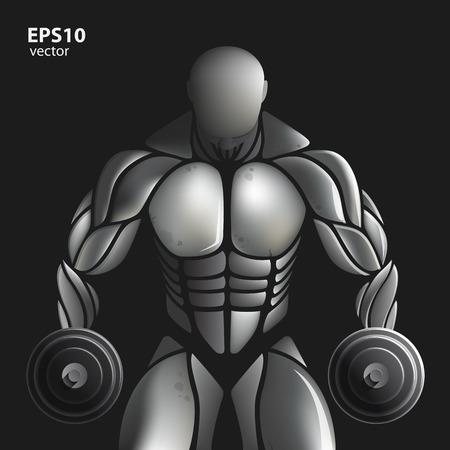 male silhouette: Handsome muscular bodybuilder train posing over black background. Design illustration creative concept.