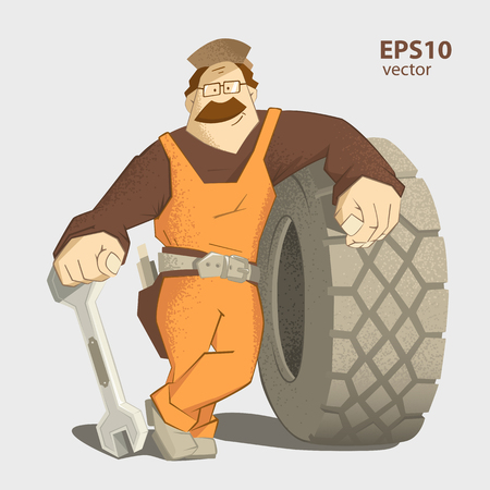 Car tire tyre service illustration. Strong smile man holding wrench and big wheel. Stock Illustratie