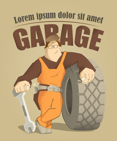 retreading: Car tire tyre service illustration poster. Strong smile man holding wrench and big wheel.