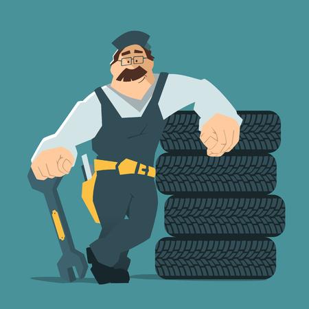 Starkes Lächeln Mann hält Schraubenschlüssel und stützte sich auf einem Stapel von Rad. Autoreifen Reifen-Service-Illustration.