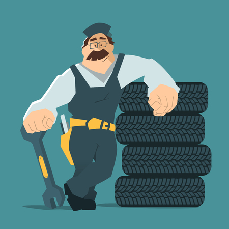 technician: Strong smile man holding wrench and leaning on a stack of wheel. Car tire tyre service illustration.