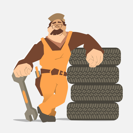 retreading: Strong smile man holding wrench and leaning on a stack of wheel. Car tire tyre service illustration.