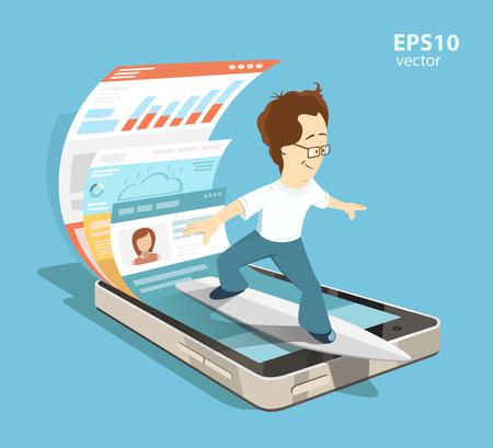 Młody inżynier oprogramowania programista. Aplikacja mobilna aplikacja z koncepcji rozwoju UI i UX projekt. Twórczy kolor ilustracji. Ilustracje wektorowe