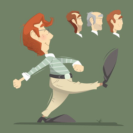 responsible: Smart clever responsible executive man employee office worker going forward. Color vector illustration.
