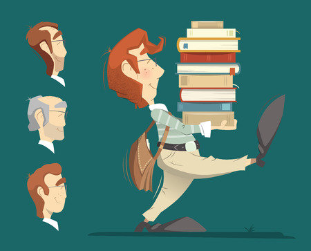 clever: Smart clever student holding and carrying a heap pile stack of books and going forward. Color illustration.