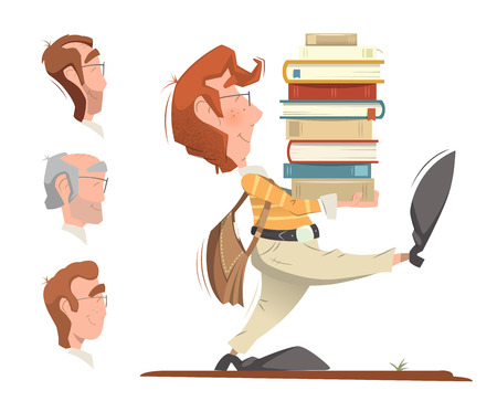 Smart clever student holding and carrying a heap pile stack of books and going forward. Color illustration.