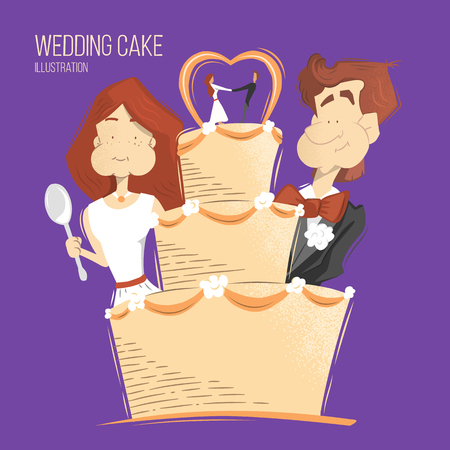 love illustration: Big cream wedding cake illustration. Happy smile groom and bride woman and man eating wedding cake.