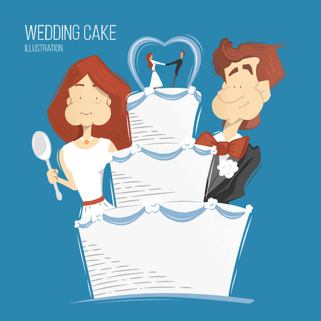 tier: Big white wedding cake illustration. Happy smile groom and bride woman and man eating wedding cake. Illustration