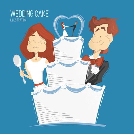 pareja comiendo: Ilustración grande del pastel de bodas blanco. el novio sonrisa feliz y mujer novia y el hombre comiendo pastel de bodas.