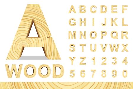 Os blocos de madeira do alfabeto com letras e números, vetor ajustaram-se com todas as letras, para sua mensagem de texto, título ou projeto. Isolado sobre o branco. Ilustración de vector