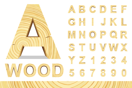 wood sign: Wooden alphabet blocks with letters and numbers, vector set with all letters, for your text message, title or design. Isolated over white. Illustration