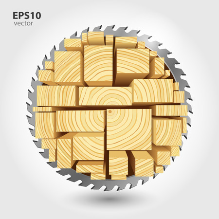 joinery: Lumber and wood slice illustration concept. Abstract creative saw. Sawmill color hd 3d web icon. Woodworking