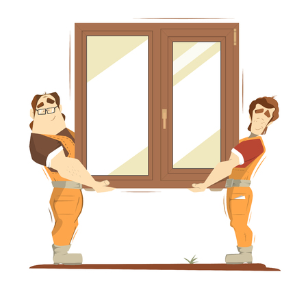 cartoon window: Brown wood home house window color illustration. Two handsome man holding brown wood window.