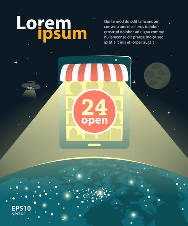 Online internet shop, e-shop design development creative illustration. Worldwide global concept.