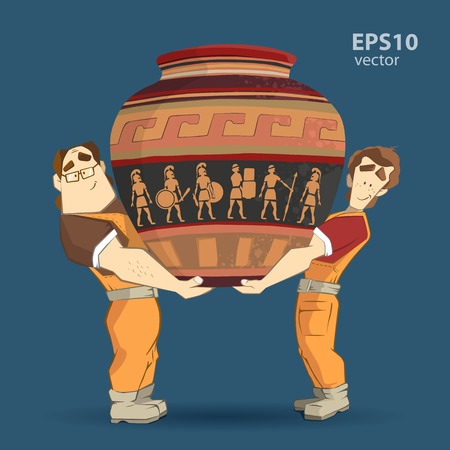 transportation company: Delivery service and transportation company illustration. Two workers mover man holding and carrying big heavy old egyptian vintage antique vase. 3d color vector creative concept with characters.
